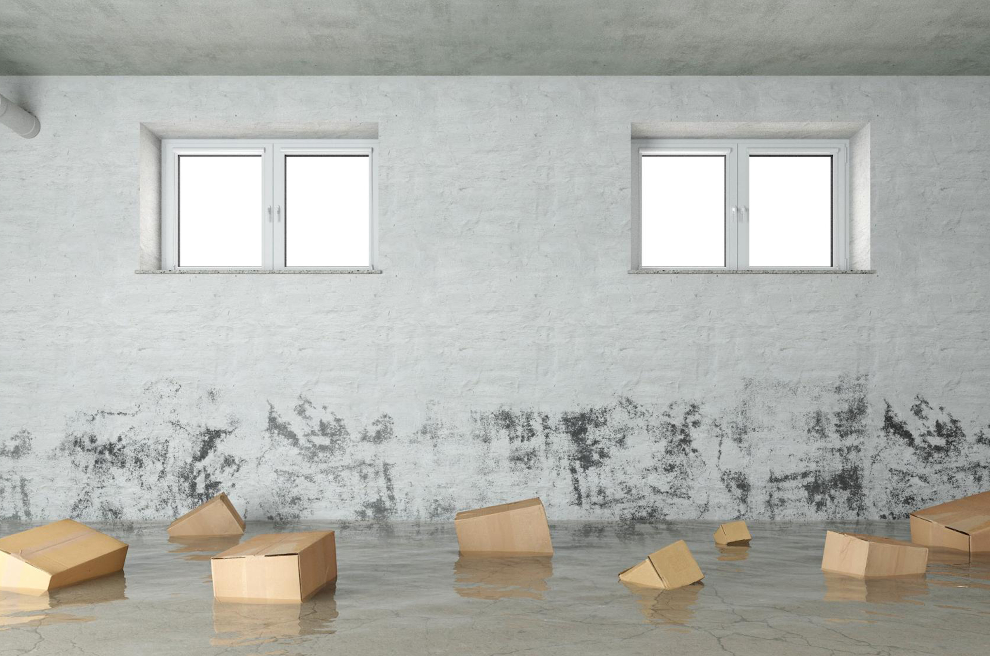 A flooded basement with extensive water damage and floating boxes in the water